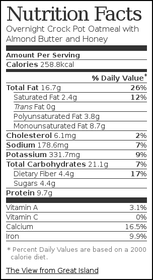 Nutrition label for Overnight Crock Pot Oatmeal with Almond Butter and Honey