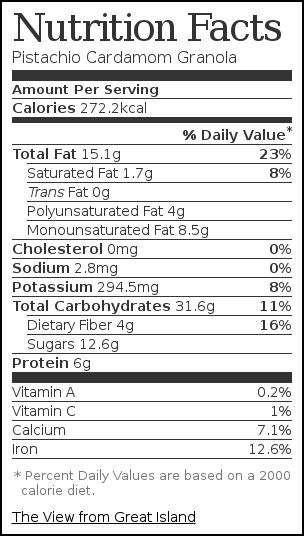 Nutrition label for Pistachio Cardamom Granola