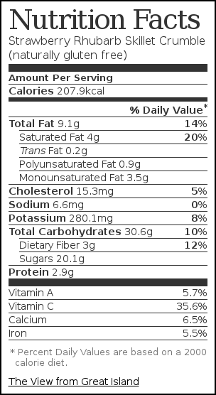 Nutrition label for Strawberry Rhubarb Skillet Crumble (naturally gluten free)