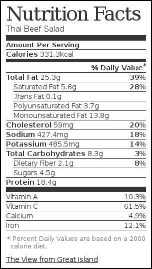 Nutrition label for Thai Beef Salad