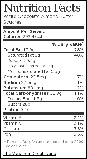 Nutrition label for White Chocolate Almond Butter Squares