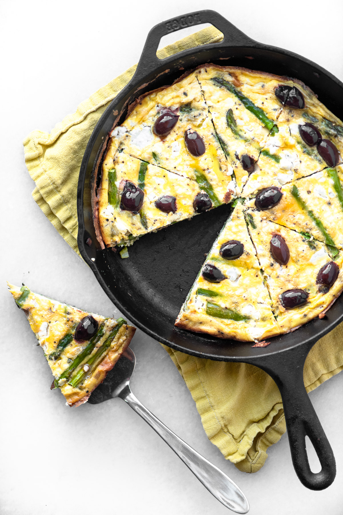 asparagus goat cheese frittata in a skillet