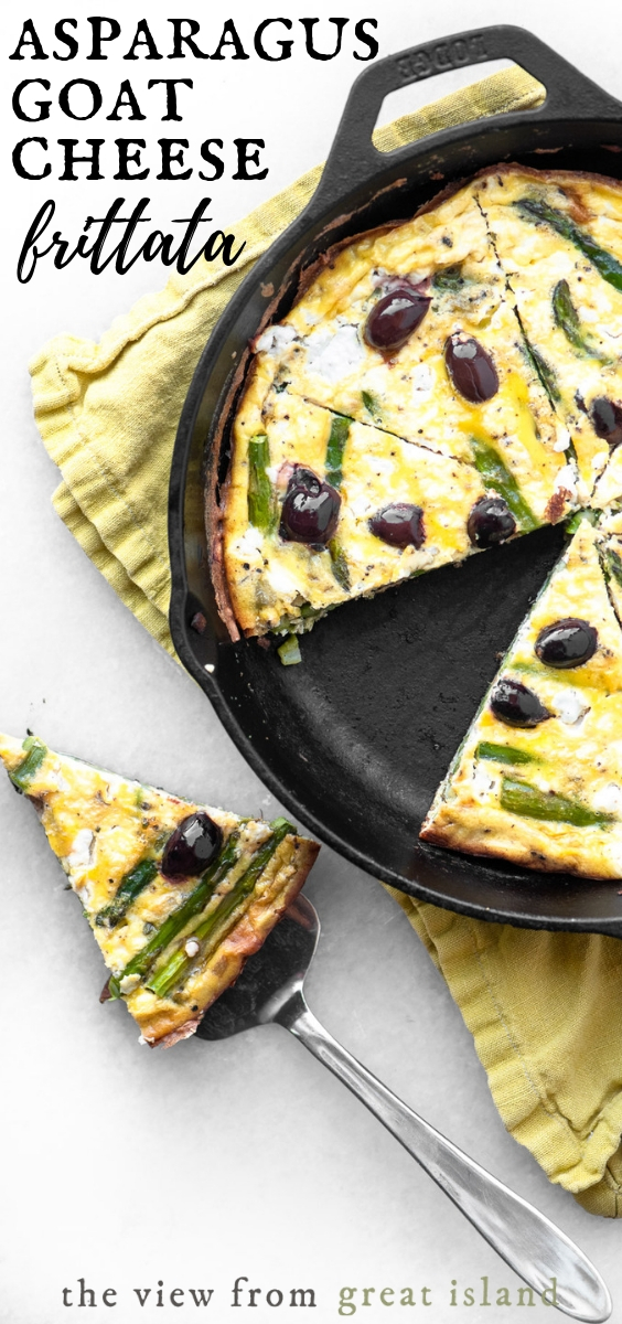 asparagus goat cheese and olive frittata