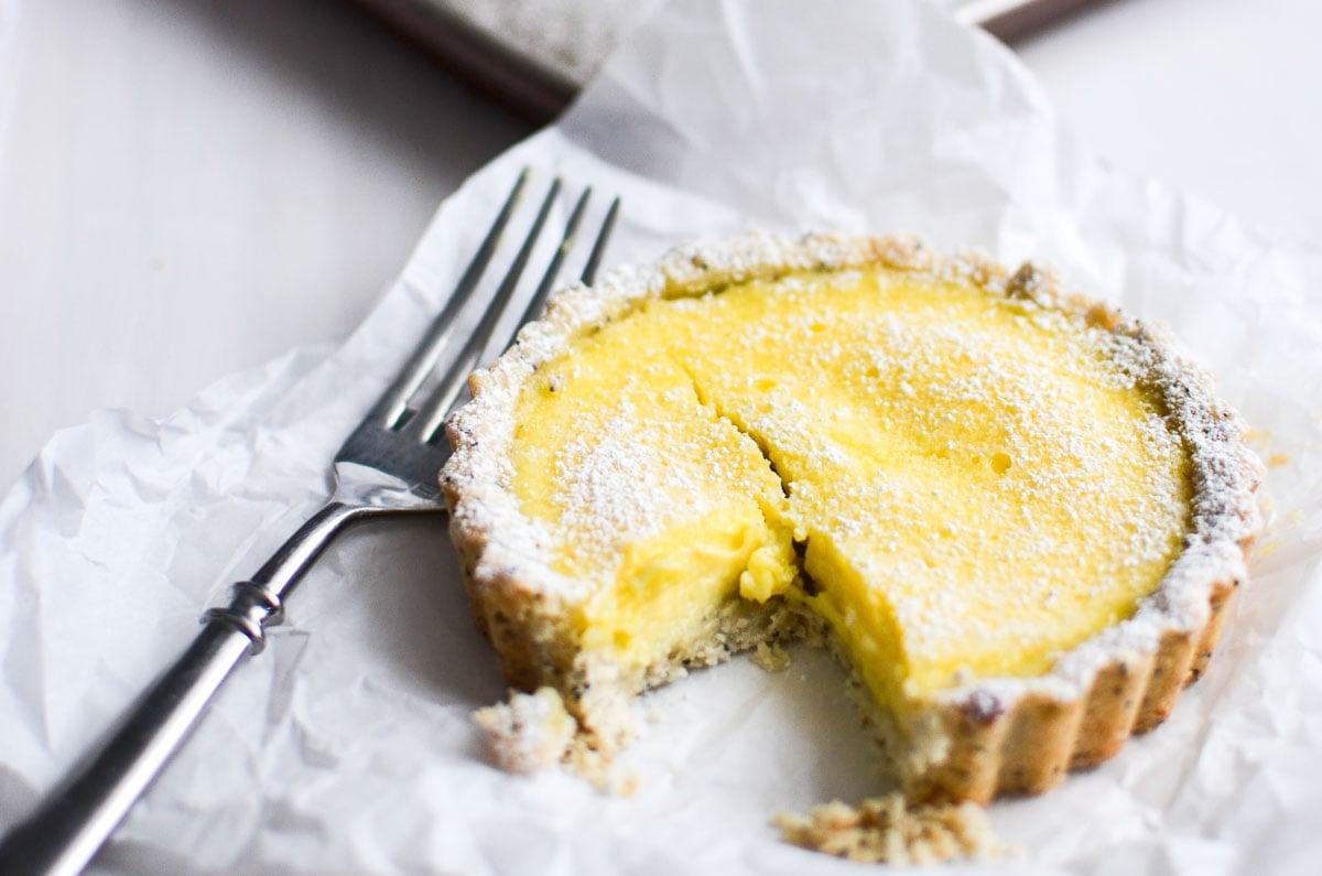 Lemon Tart with Poppy Seed Shortbread Crust