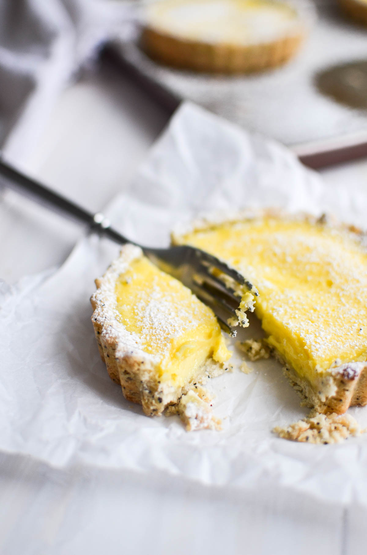 lemon poppy seed tart with fork