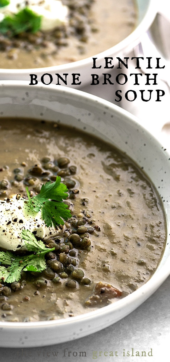 Lentil Bone Broth Soup pin