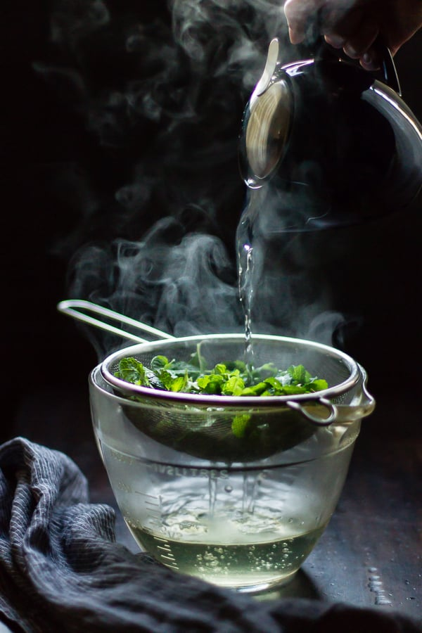infusing fresh mint