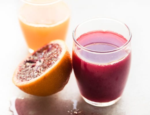 Blood orange and tangerine spremuta (Italian orange juice)