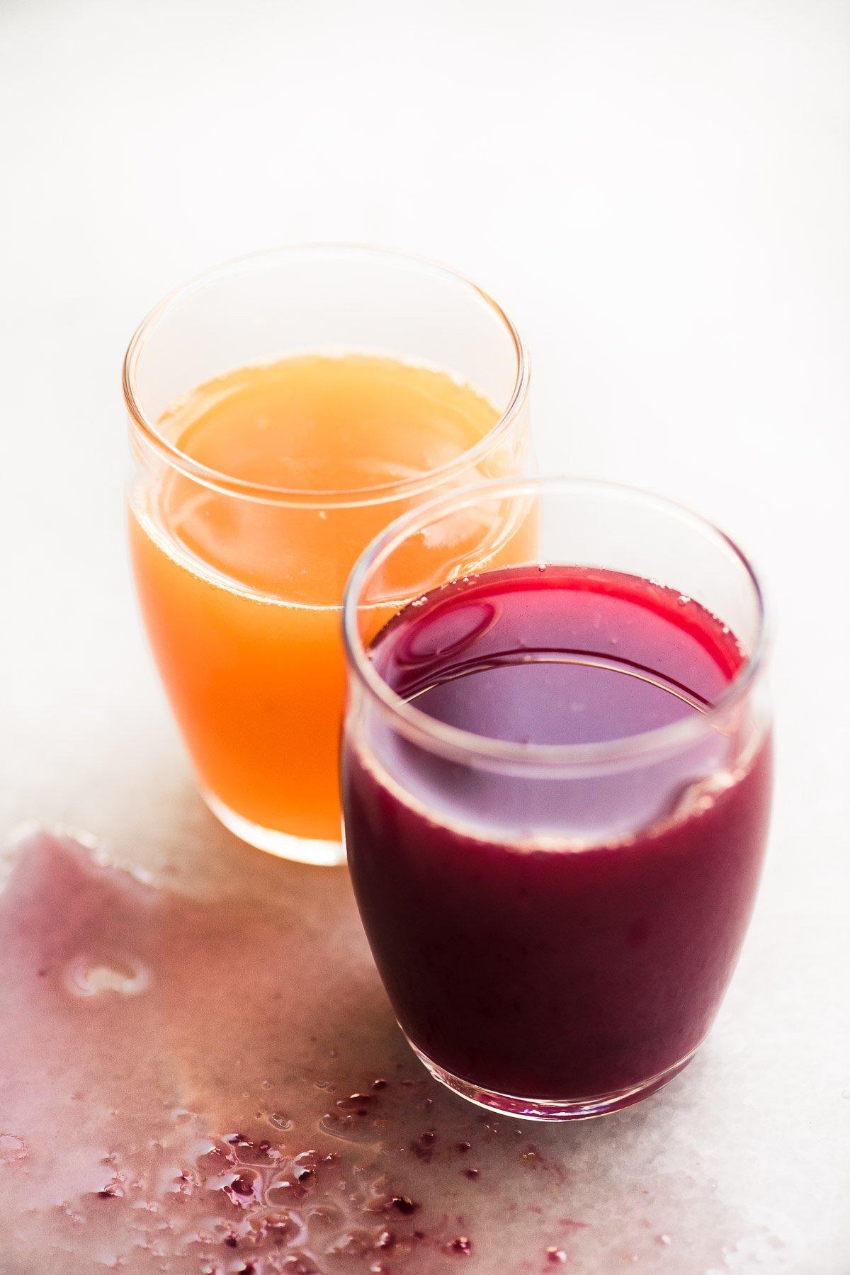 Small glasses of spremuta citrus juice