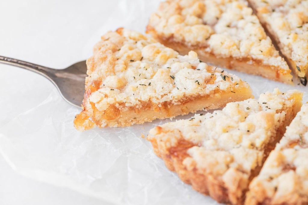 Tangerine Marmalade Crumble Tart, sliced 2