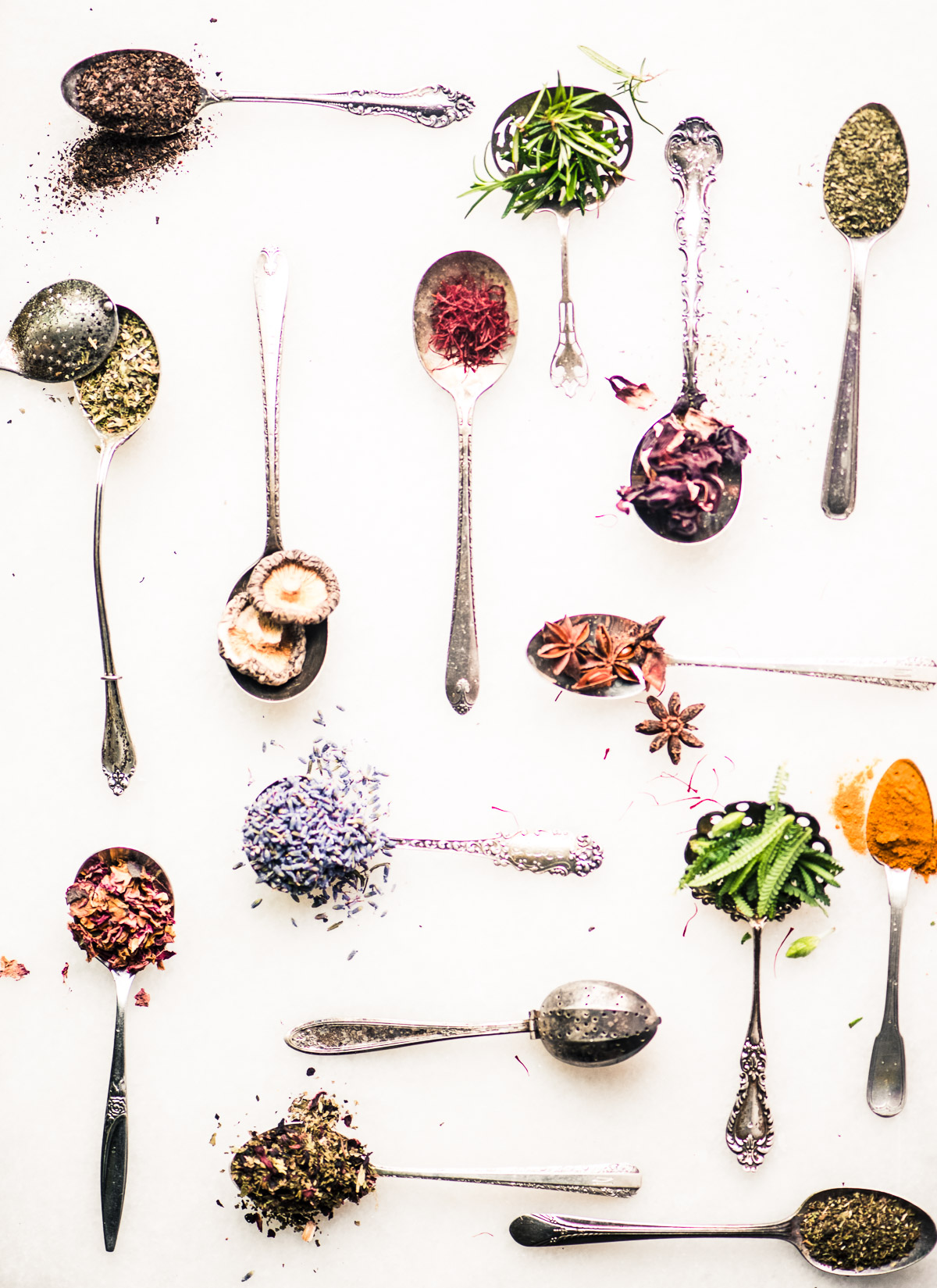 tea spoons with various tea ingredients