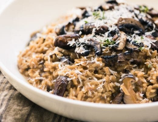 Instant Pot Wild Mushroom Risotto in a white bowl 5
