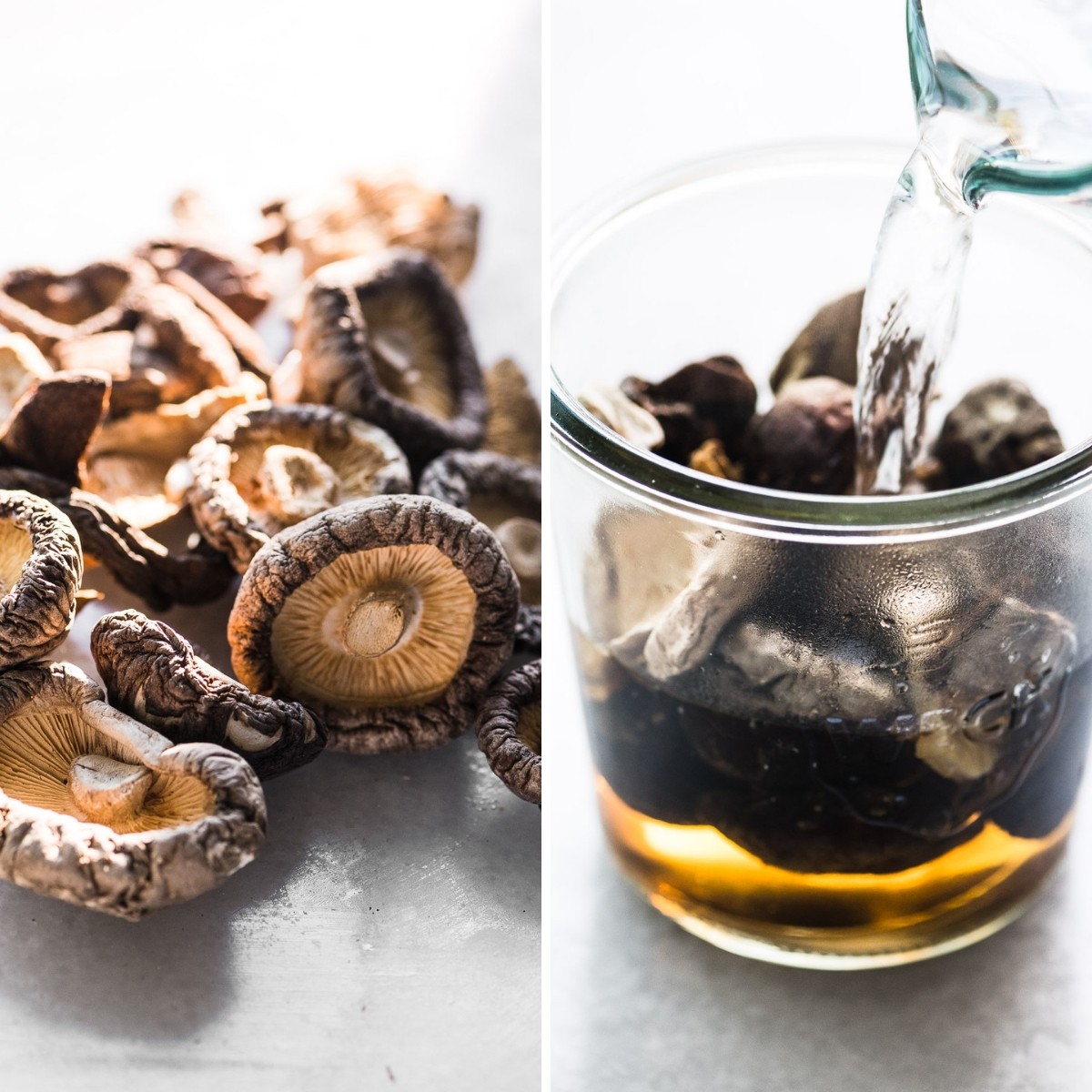 re-hydrating dried wild mushrooms