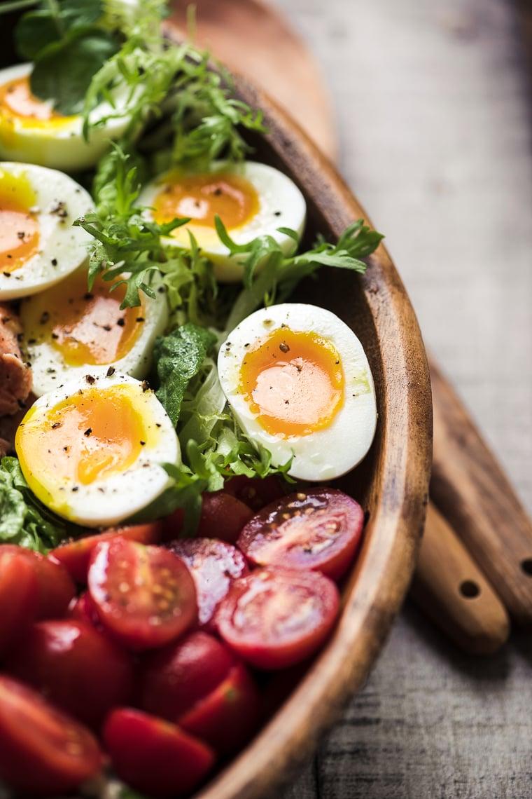 Lettuce mix for a Salmon Cobb Salad