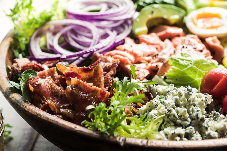 Salmon Cobb Salad in a wooden salad bowl 3
