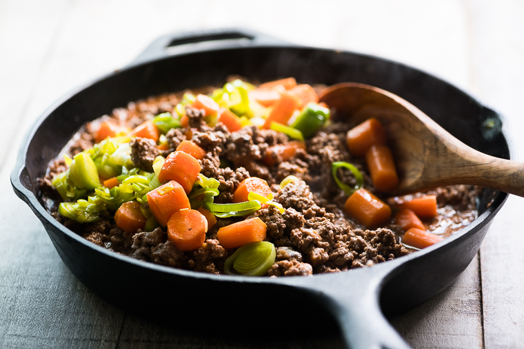 Making Cottage Pie in a skillet