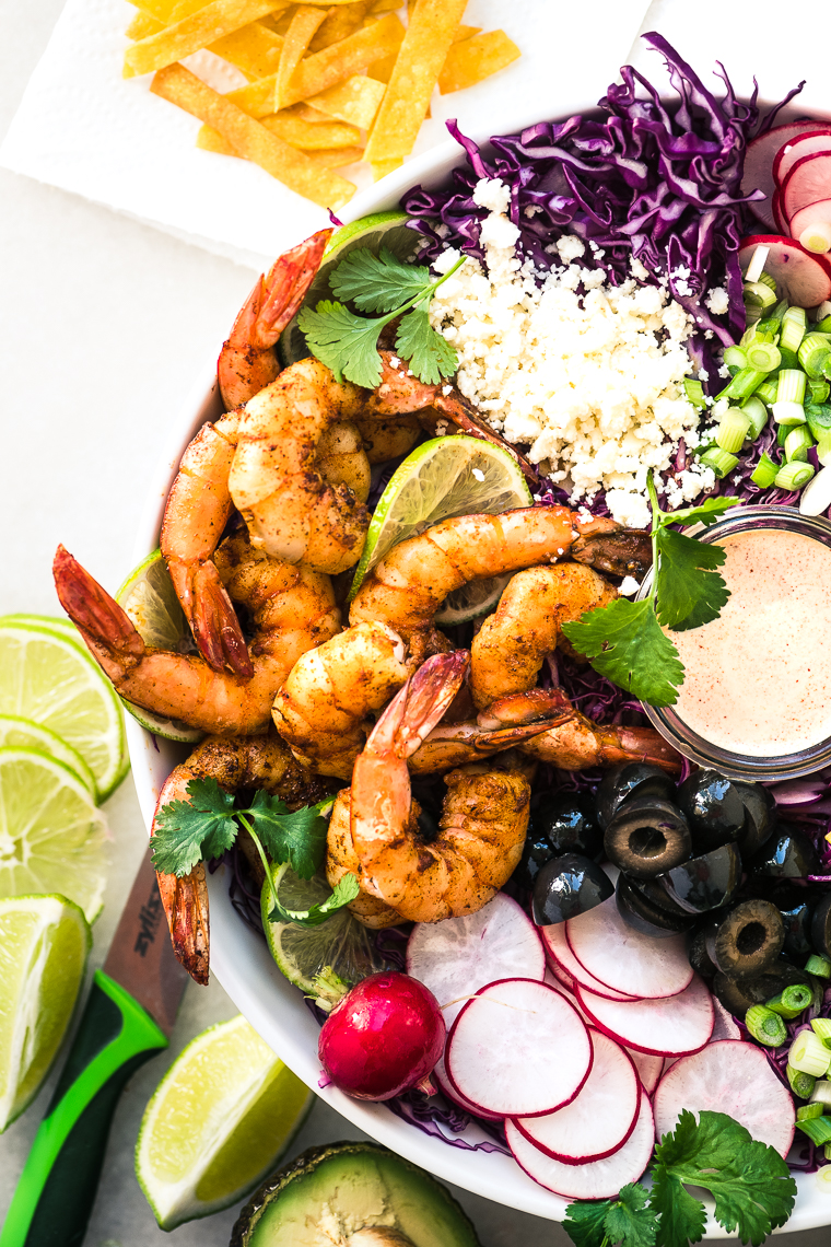 Shrimp Taco Salad in a white bowl 3