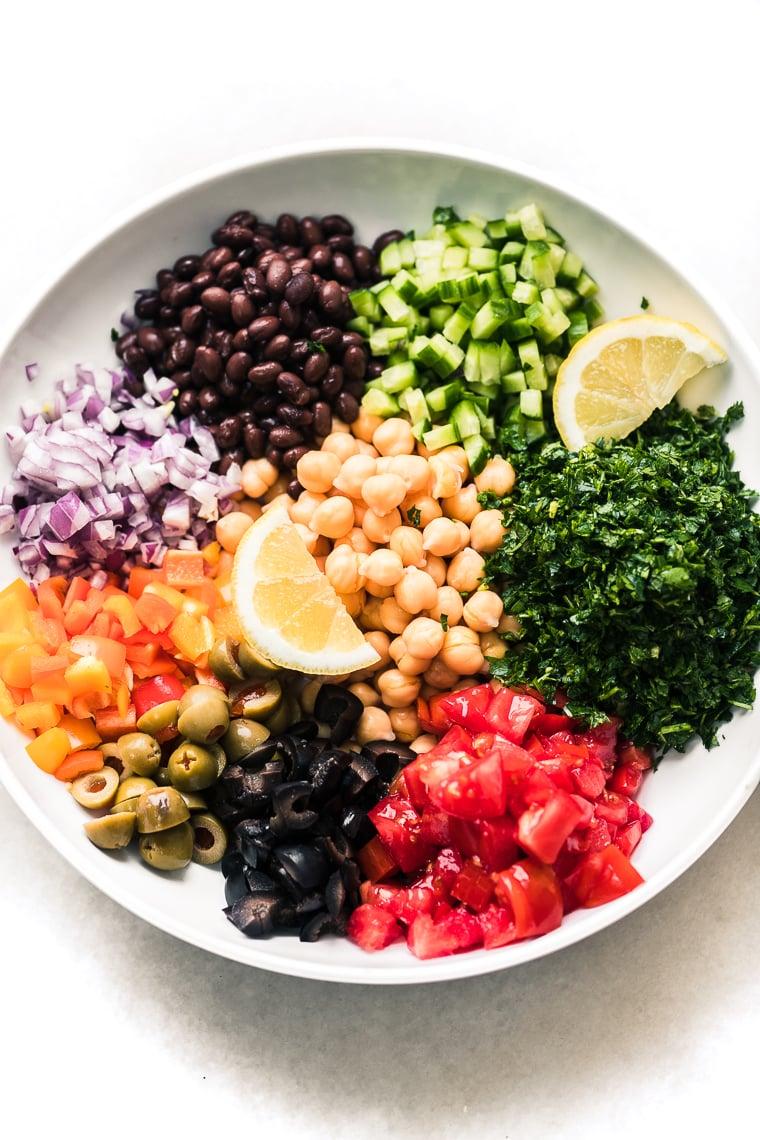 Making a Middle Eastern Chickpea Salad (balela salad)