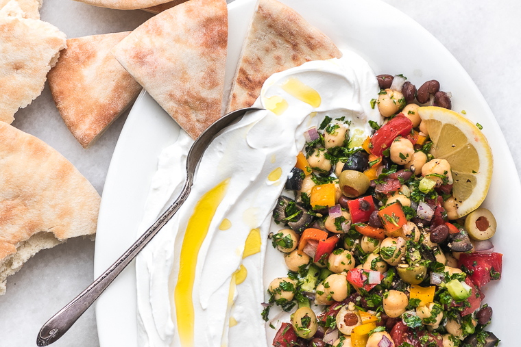 Balela salad with labneh and pita bread