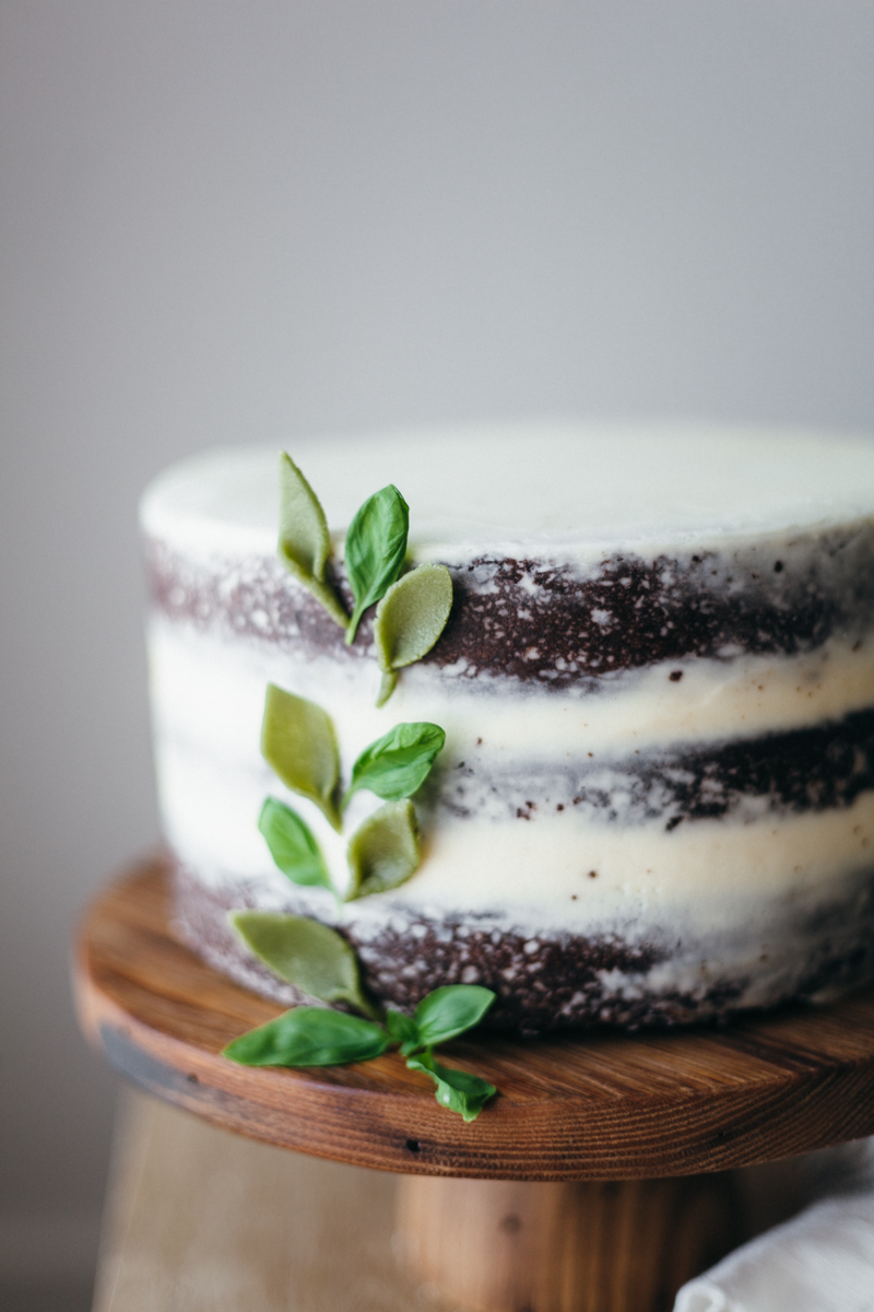 Basil Mascarpone Chocolate Cake