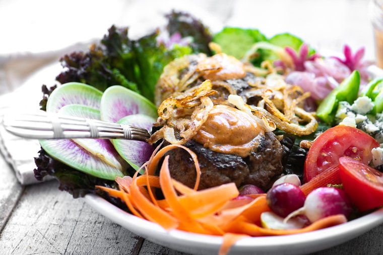 Burger Salad Bowl with Fork