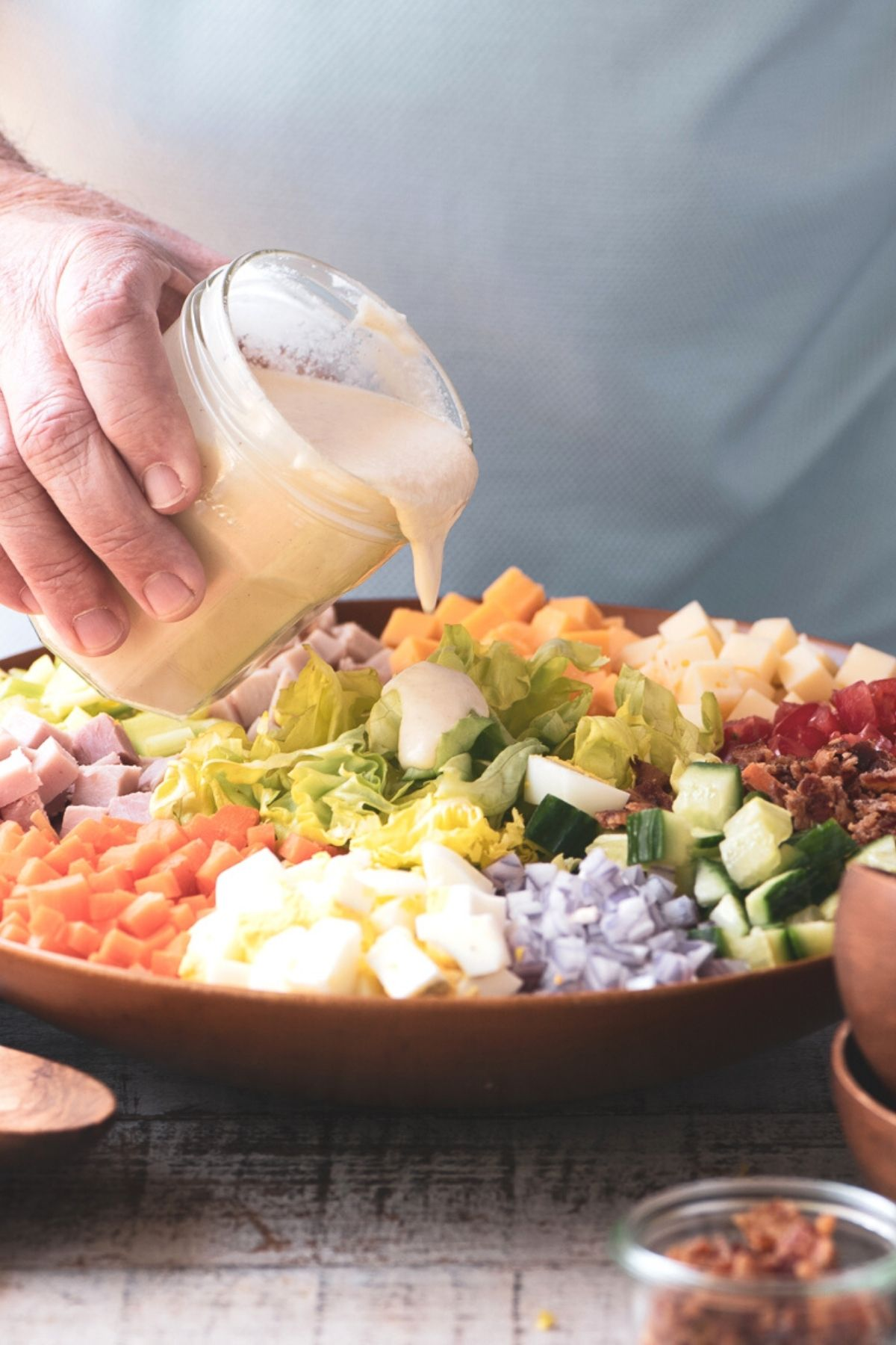dressing a chopped chef salad