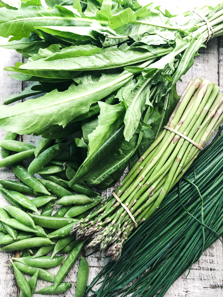 Spring greens for a sheet pan frittata