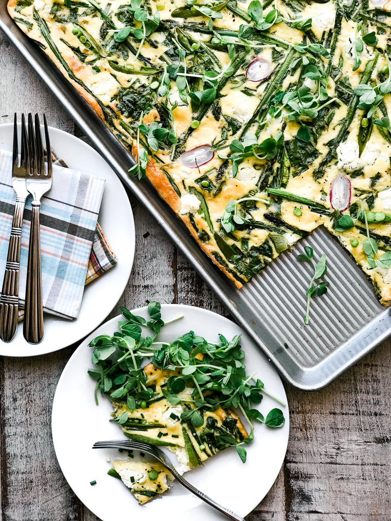 sheet pan frittata with spring greens and goat cheese