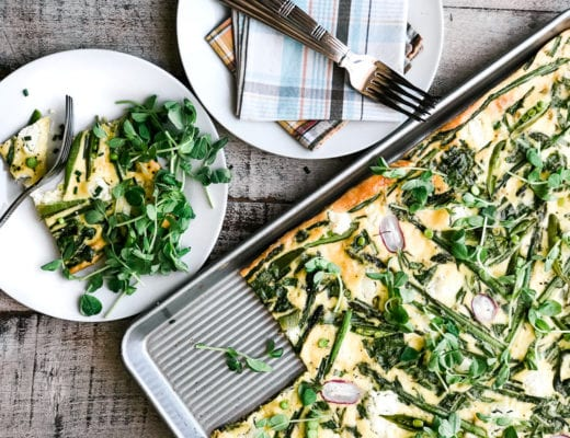 Sheet Pan Frittata with spring greens, asparagus, snap peas, and goat cheese