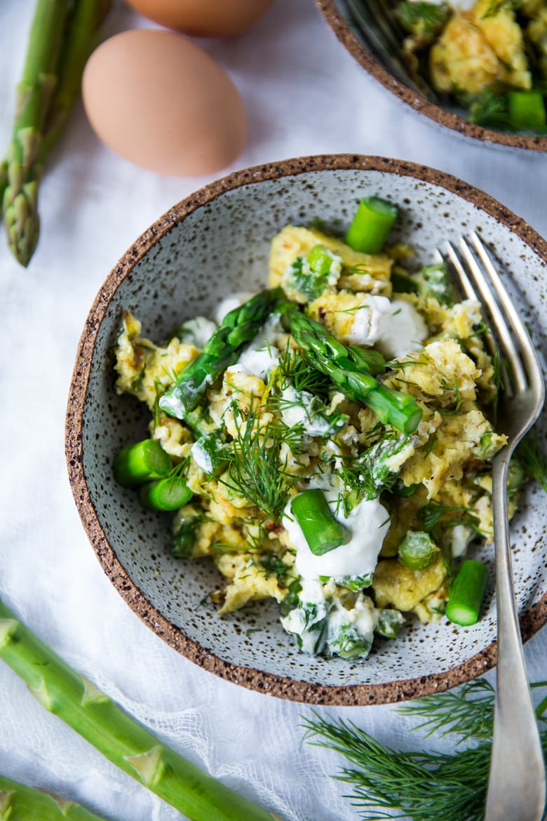 Scrambled Eggs with Asparagus, Leek, Chèvre, and Dill
