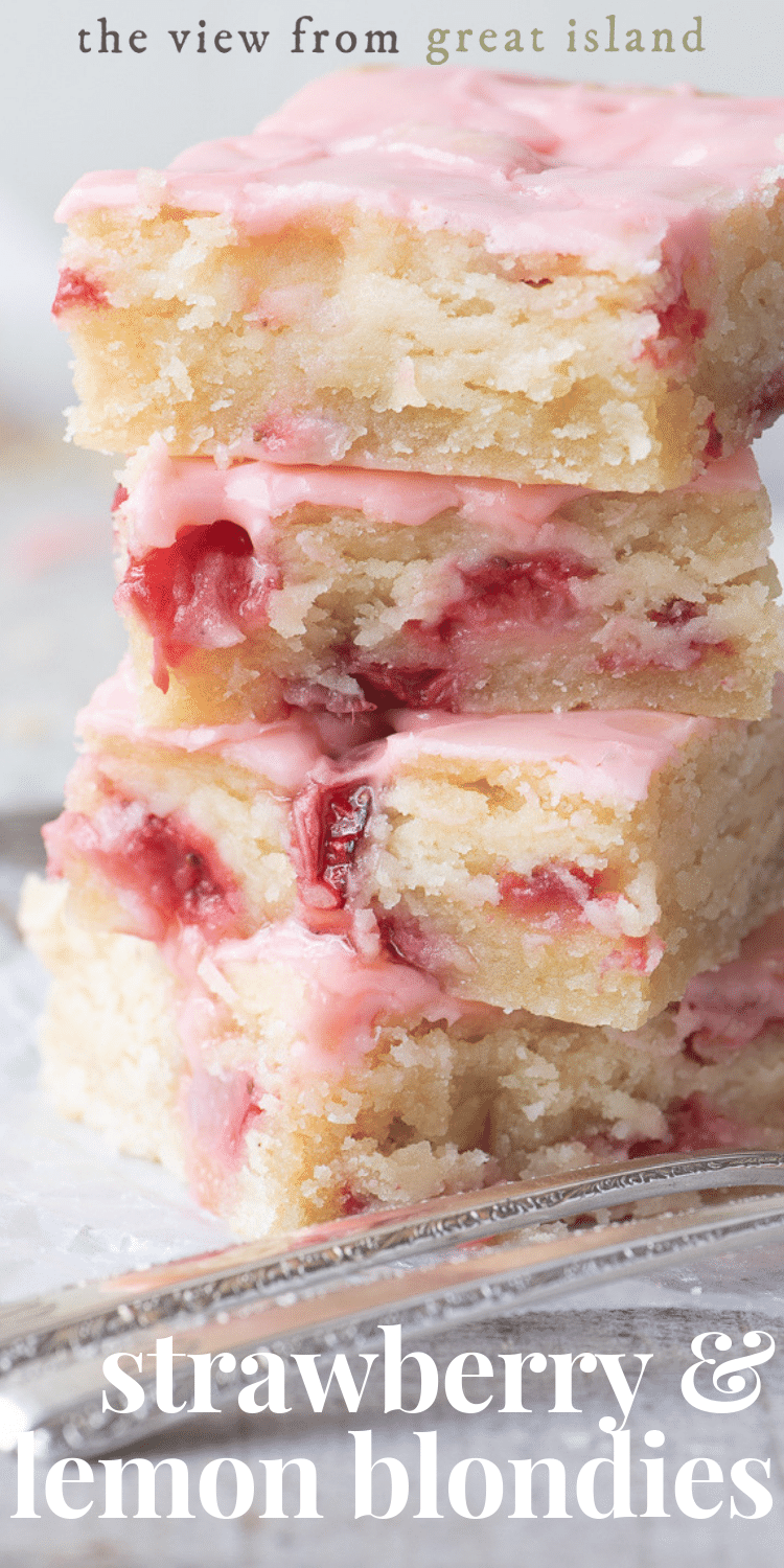 strawberry and lemon blondies pin