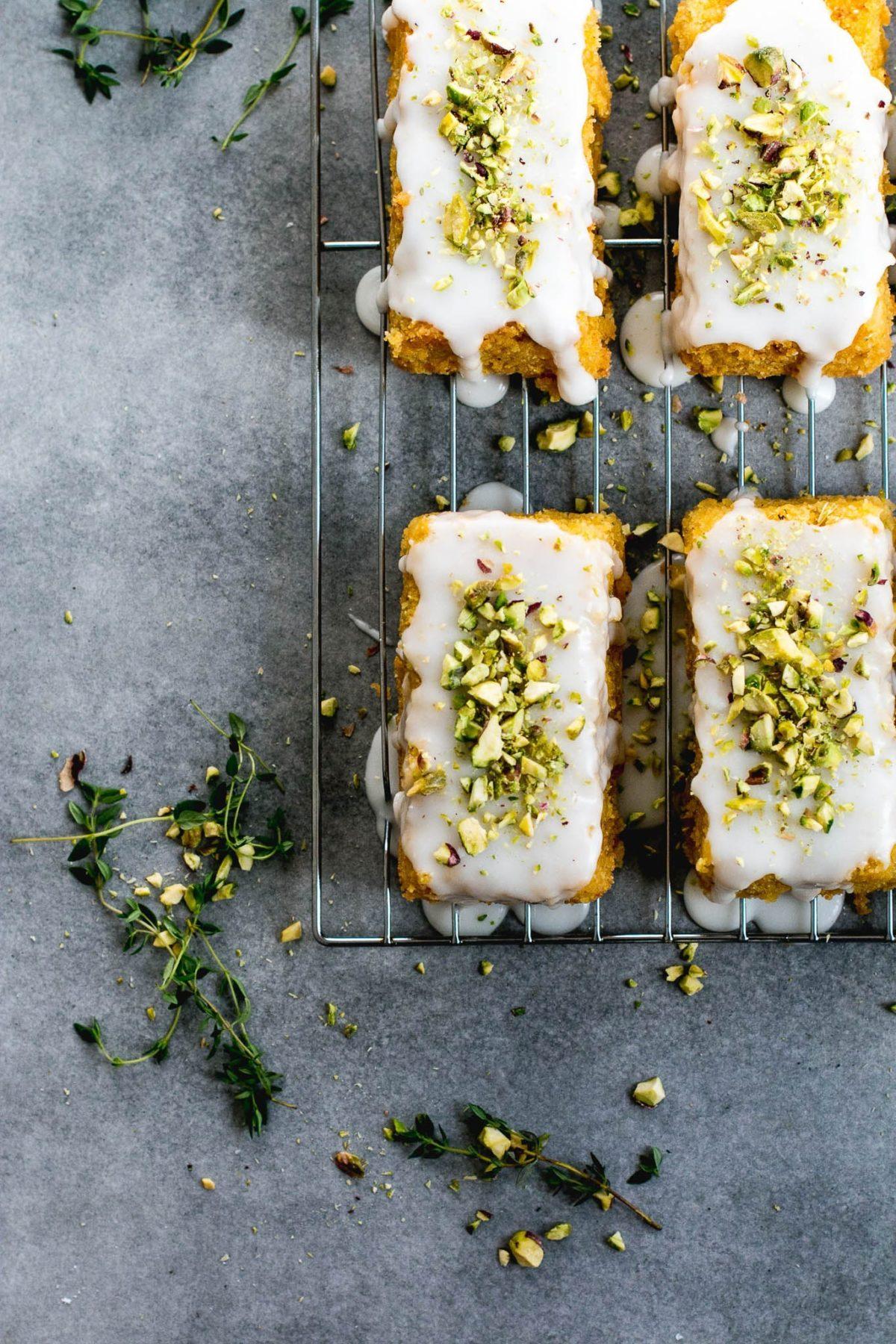 Lemon Polenta Pistachio Cakes