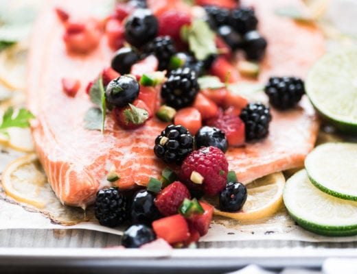 Roasted salmon topped with berry salsa