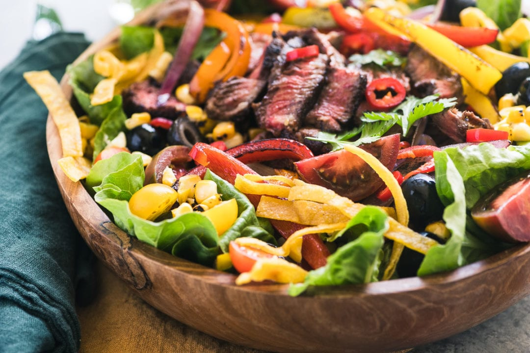 Mexican Steak Fajita Salad in a wooden bowl 2