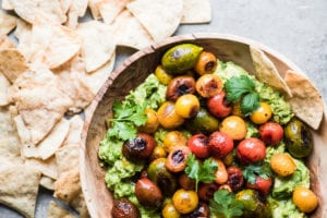 guacamole with blistered tomatoes