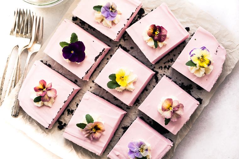 No Bake Black Bottom Strawberry Cheesecake Squares