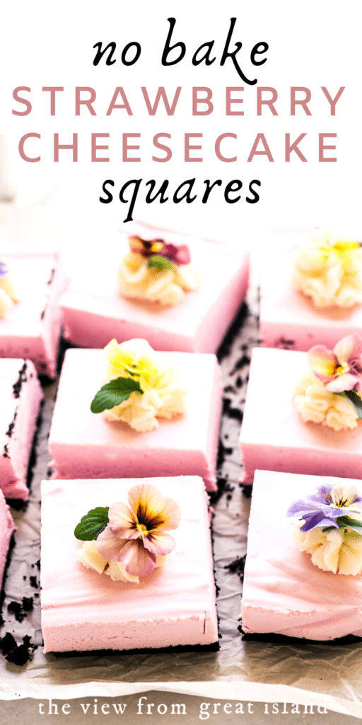 No Bake Strawberry Cheesecake Squares pin
