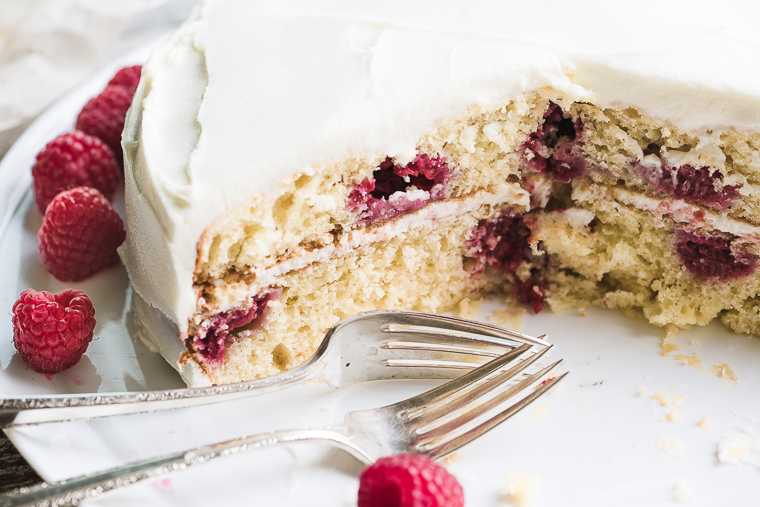 Raspberry Lemon Cake with dessert forks