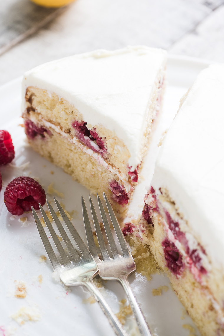 Raspberry Lemon Tea Cake made with yogurt