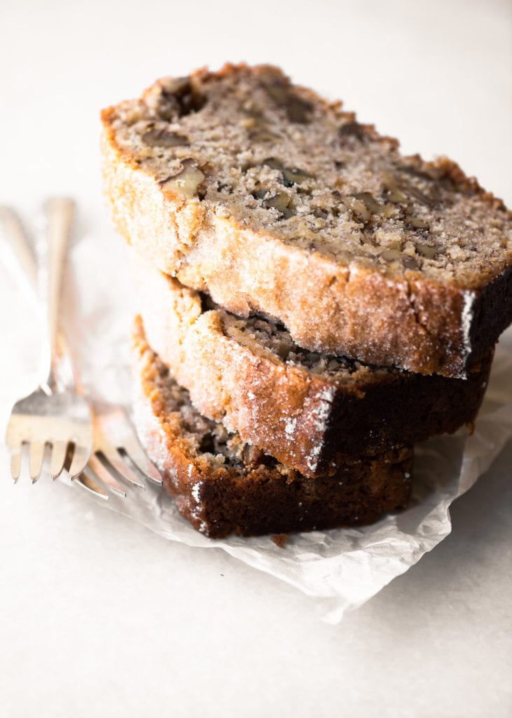 A stack of roasted banana bread with walnuts