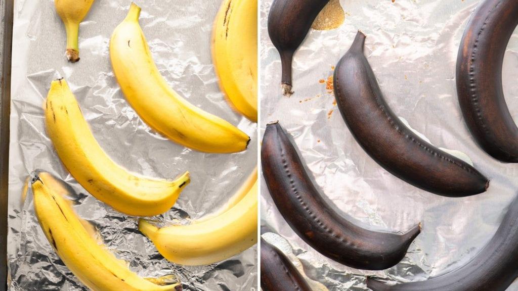 roasting bananas for roasted banana bread