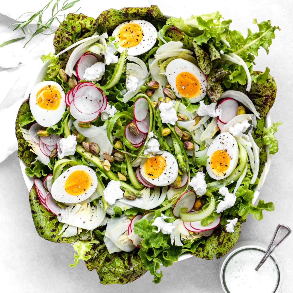 Spring salad with creamy tarragon dressing