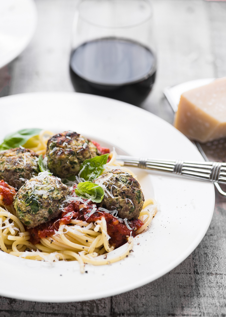 Zucchini Beef Meatballs with pasta and marinara sauce