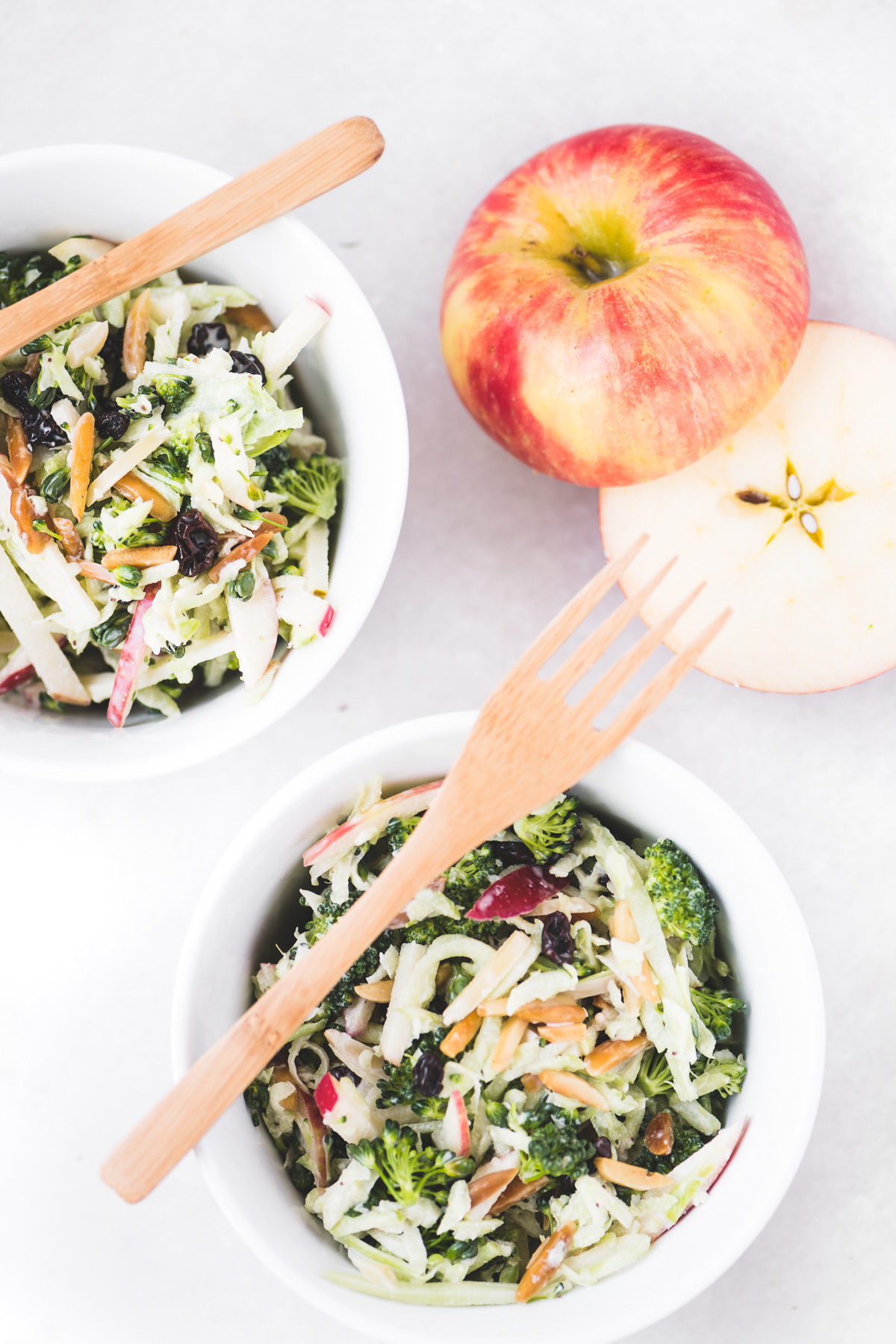 Broccoli Honeycrisp Slaw with a Honeycrisp apple