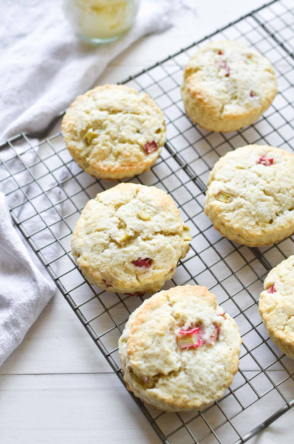 Rhubarb scones on a cooling rack.
