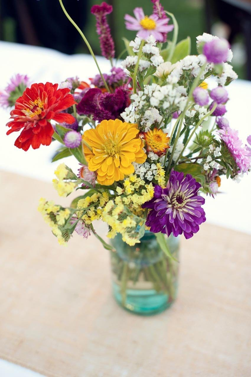 rustic wildflowers in a glass jar
