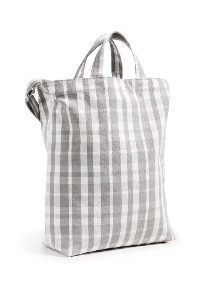 plaid canvas market bag