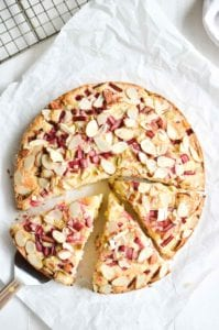 Rhubarb Cake, sliced on parchment paper