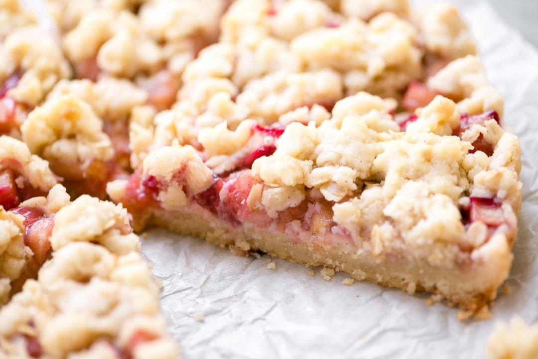 Rhubarb Vanilla Bean Shortbread Tart, sliced