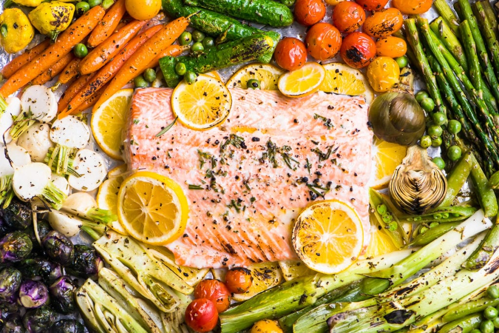 Sheet Pan Salmon Primavera just out of the oven